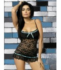 OBSESSIVE CHEMISE AND THONG CURACAO BLACK