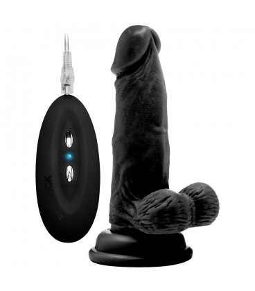 """REALROCK 6"""" REALISTIC VIBRATOR WITH TESTICLES BLACK"""