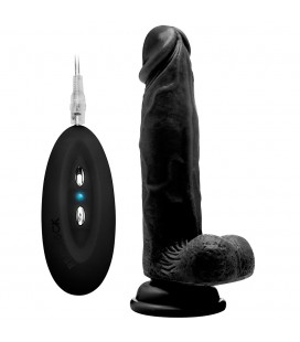 "REALROCK 8"" REALISTIC VIBRATOR WITH TESTICLES BLACK"
