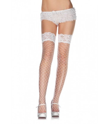 FISHNET THIGH HIGHS WITH LACE TOP WHITE