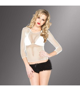FISHNET SHIRT WITH SLEEVES WHITE