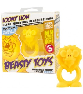 VIBRATING RING WITH LIGHT BEASTY TOYS LOONY LION